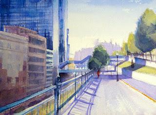acuarela watercolor paisaje urbano bilbao uribitarte