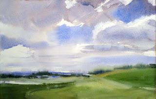 acuarela watercolor paisaje como pintar cielos en acuarela