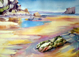 paisaje acuarela playa watercolor landscape beach