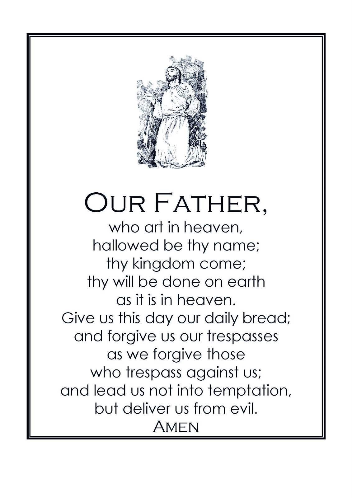 Dynamic image with printable our father prayer