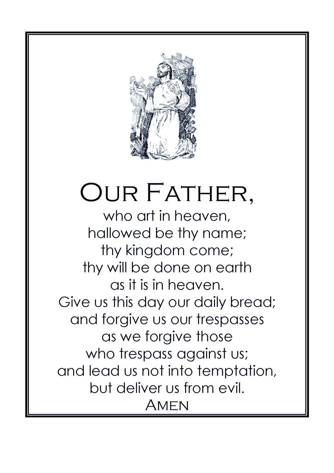 Gargantuan image with regard to printable our father prayer