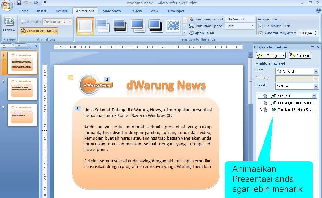 dWarung News: Membuat Screen Saver dengan Powerpoint