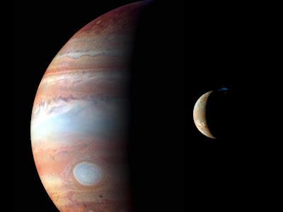 Jupiter e Io fotografiados por la sonda New Horizons