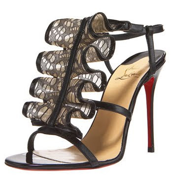 Christian Louboutin, Louboutin, Loub, Loubs, Christian Louboutin Patent and Lace Sandal, Christian Louboutin heels, Christian Louboutin pumps, Christian Louboutin sandals, sandal, pump, heel, red sole