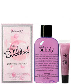 Philosophy, Philosophy Bring On The Bubbles, Philosophy gift set, Philosophy Pink Bubbly, Philosophy shower gel, Philosophy bubble bath, Philosophy body wash, Philosophy gift set, Philosophy shampoo, Philosophy lip shine, Philosophy lipgloss, gift set