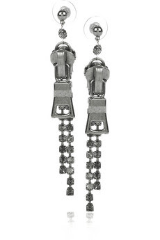 Tom Binns, Tom Binns earrings, Tom Binns jewelry, Tom Binns Silver-Plated Swarovski-Crystal Zipper Earrings, earrings, jewelry, Net-a-Porter, Swarovski