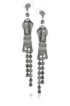Tom Binns, Tom Binns earrings, Tom Binns jewelry, Tom Binns Silver-Plated Swarovski-Crystal Zipper Earrings, earrings, jewelry, Net-a-Porter, Swarovski