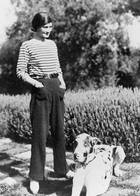 coco chanel in a striped sailor shirt