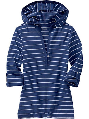blue and white striped hooded shirt