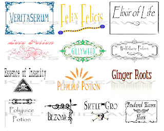 HARRY POTTER Theme Party POTION Labels Stickers