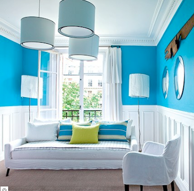 Chic provence these colors will banish the gloom - Salon bleu turquoise ...