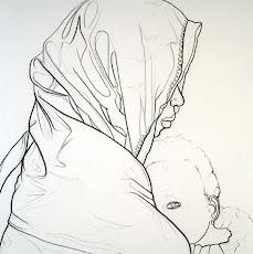 AMINA Y WASILA (Carboncillo sobre tela) - 2003. 120 x 120 cms. AMH