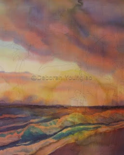 Deborah Younglao sunset silk painting progress