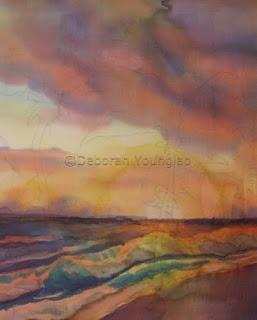 Deborah Younglao sunset silk painting progress