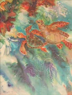 Younglao silk painting turtles