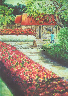 Deborah Younglao silk painting Christmas in Barbados