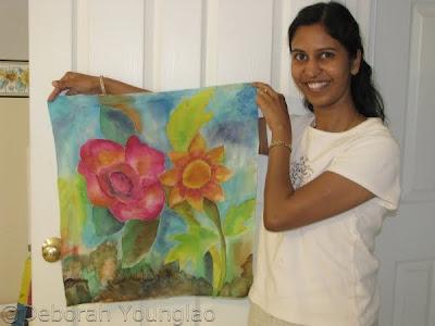 student silk painting