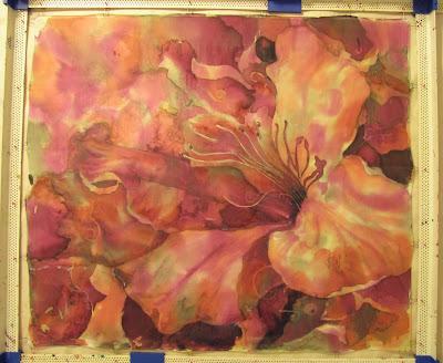 batik flower painting progress
