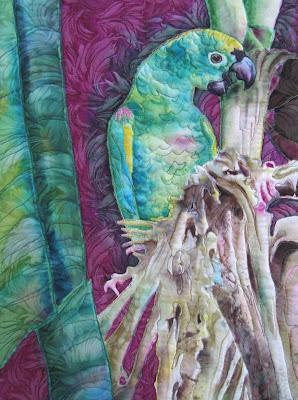 Deborah Younglao parrot silk painting