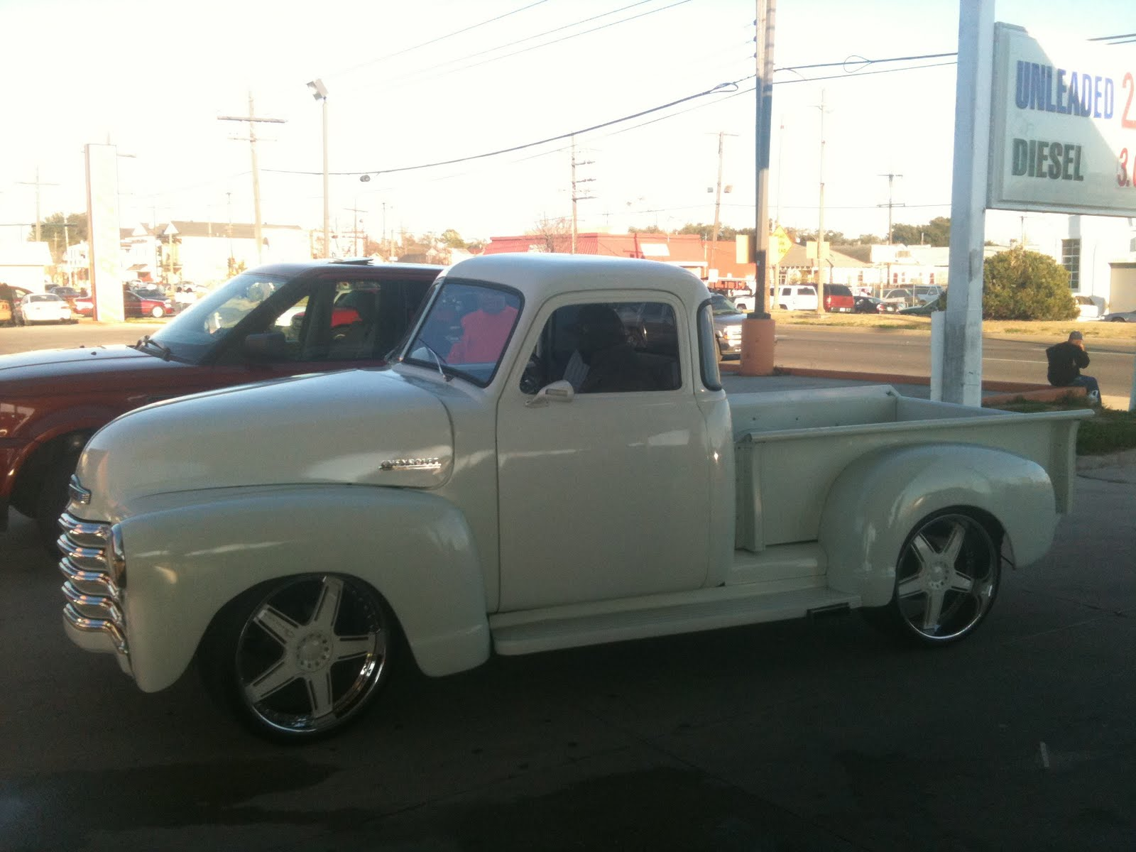 White Wheels on White Truck 1950 Chevy Truck w/ White
