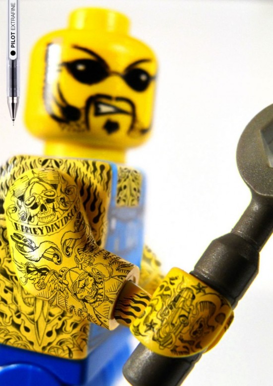 with some crazy Bad ass Tattoo on LEGO figurines ! I love it !