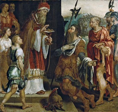 Abraham Receiving the Blessing of Melchizedek, oil on panel by Maerten van Heemskerck, 16th century