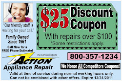 The cost of appliance repair service