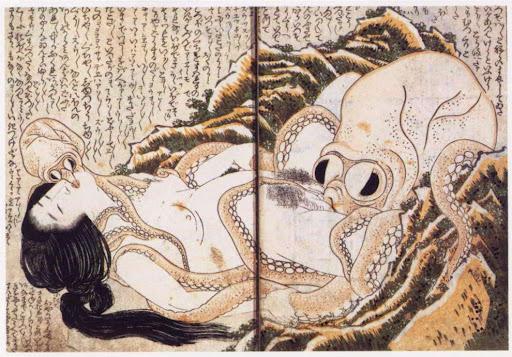 orale seks met een octopus