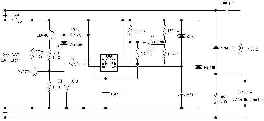 circuit electronics  car battery tester