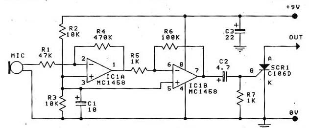 circuit sound scr swith by ic 1458  u0026 scr c106d