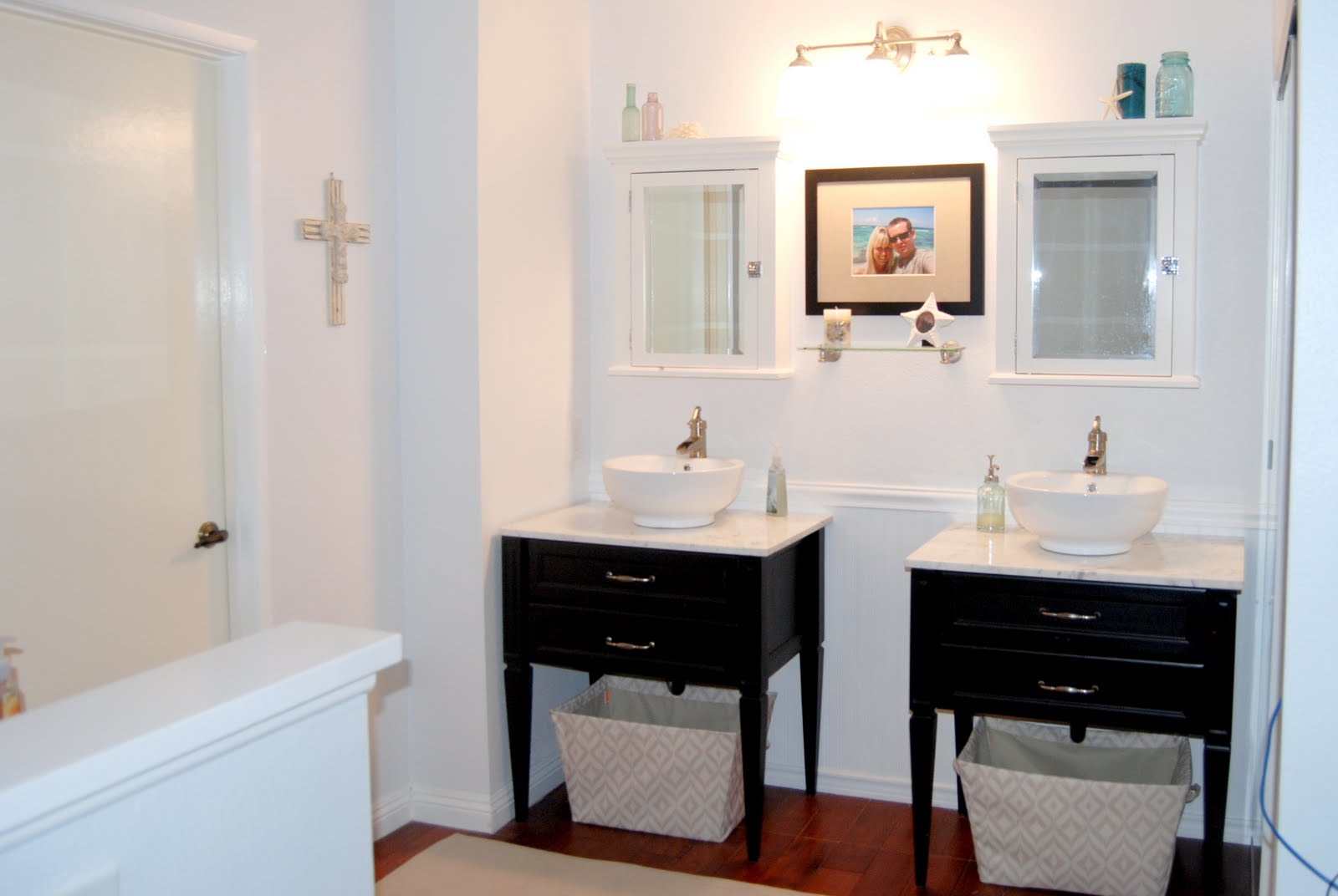 Remodelaholic new twin vanities master bathroom remodel for Master bath vanities pictures