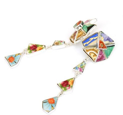 Multi Colored Broken Crockery Unique Jewelry