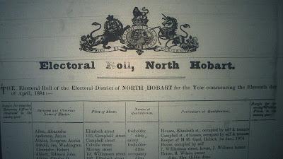 North Hobart electoral roll 1884