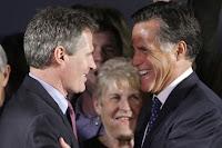 Mitt Romney (left) congratulates Scott Brown on election night.