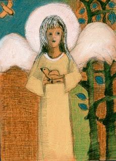 aniołek z gołąbkiem - pastel i piórko