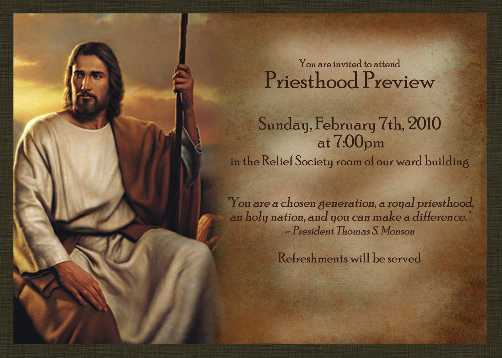 Priesthood Preview Invite ($10)