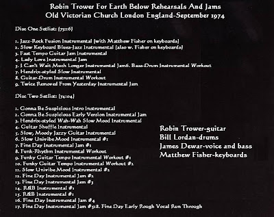 Robin Trower - For Earth Below Rehearsals And Jams-Old Victorian Church London England-September 1974