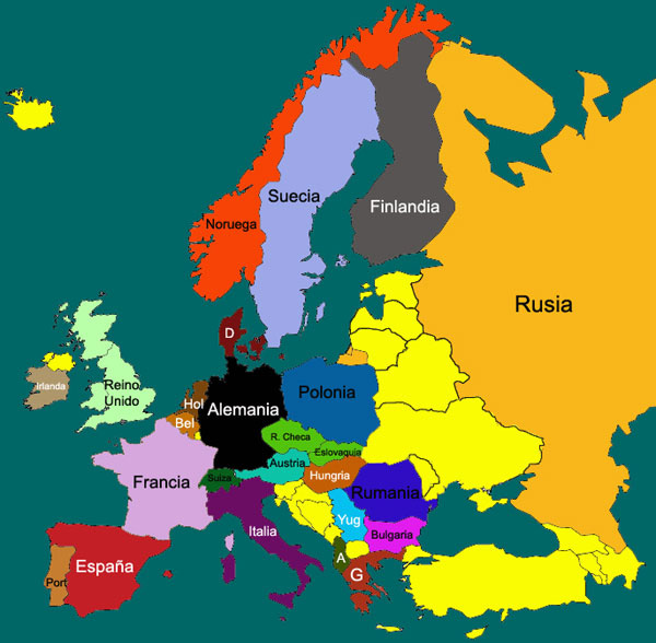 Mapa de Europa ~ Destinos