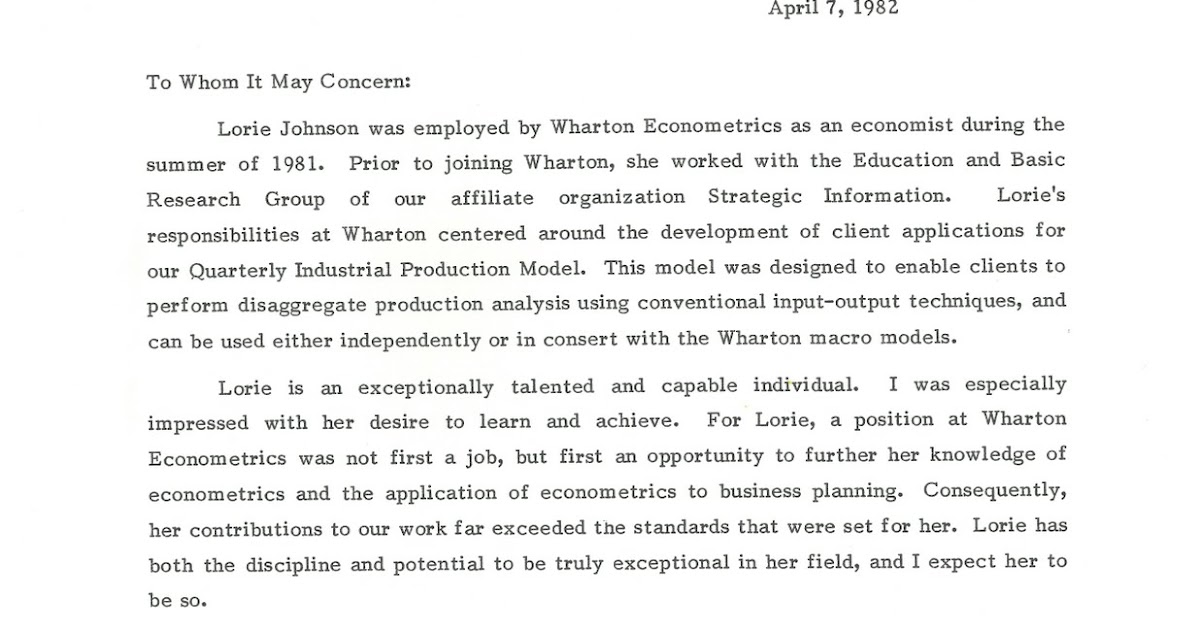 letters of recommendation  wharton letter