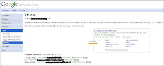 Sitelinks in Google Webmaster Tools Dashboard