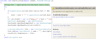 string host = Application.Current.Host.Source.Host;