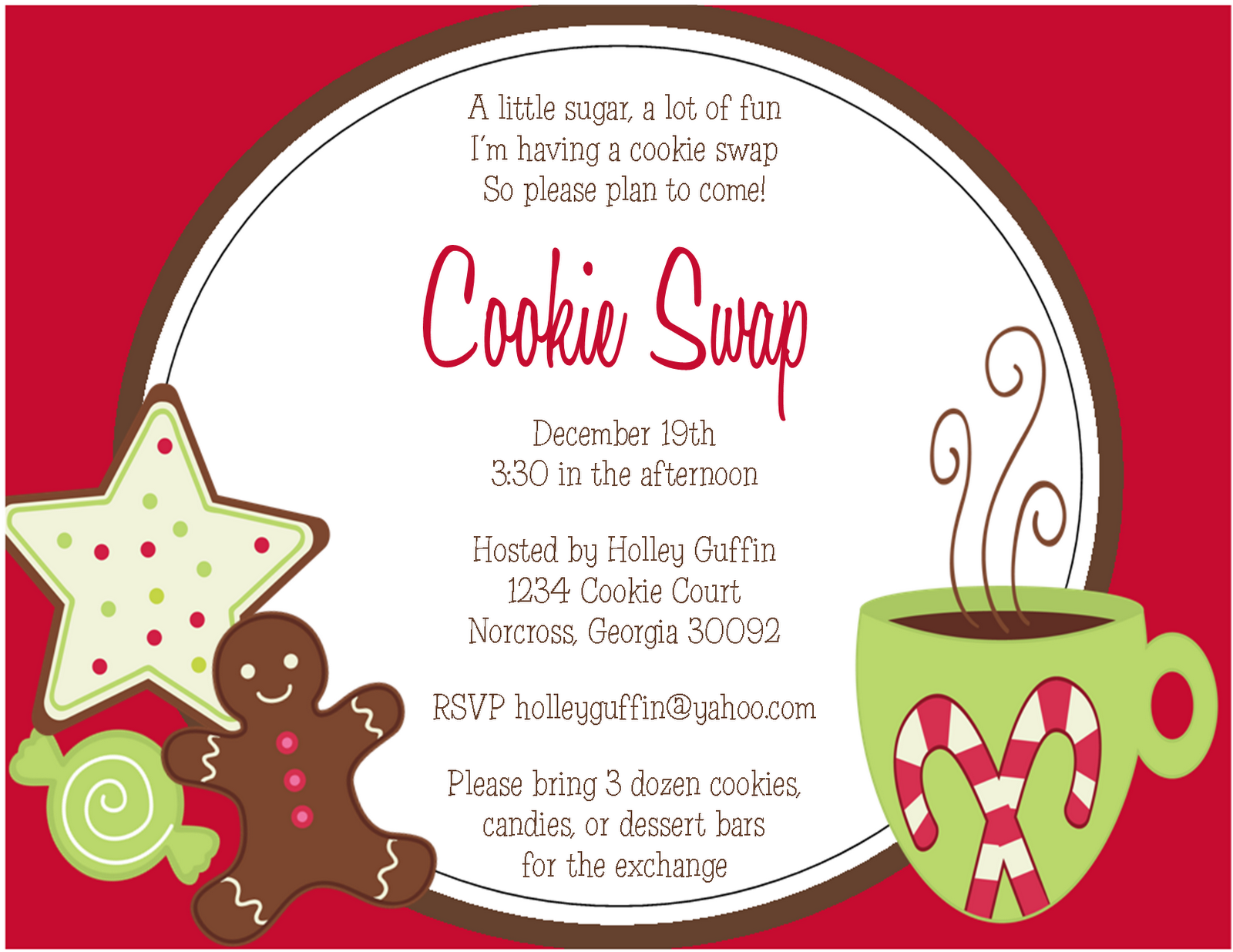 Cookie Exchange Invitations and Sweet Treat Gift Tags - Sweet ...