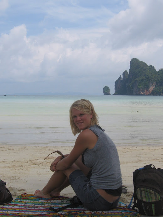 Relaxing on the beach, waiting to get on a boat to go to Railay Beach