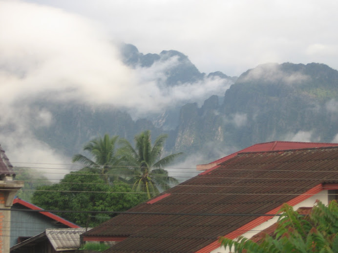Early morning veiw from my hotel room in Vang Vieng