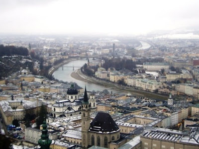 salzburg photos view over city including river salzach in snowy winter from castle