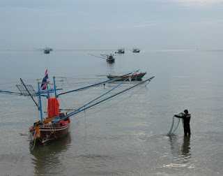 Fisherman and boats at Prachuap Khiri Khan, 3rd May