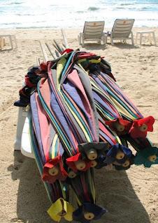 Folded beach umbrellas, Kamala Beach, 17th May 2008