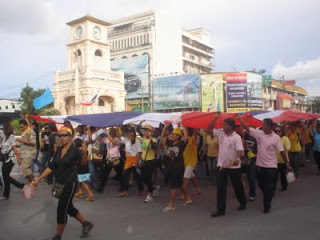 Protests in Phuket yesterday, photo from Phuket Gazette