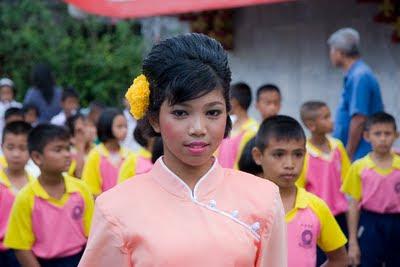 School kids in Kathu village Phuket street procession