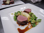 Grilled Prosciutto Wrapped Pork Tenderloin with Yukon Gold Potato Puree, Brussels Sprouts and Morel